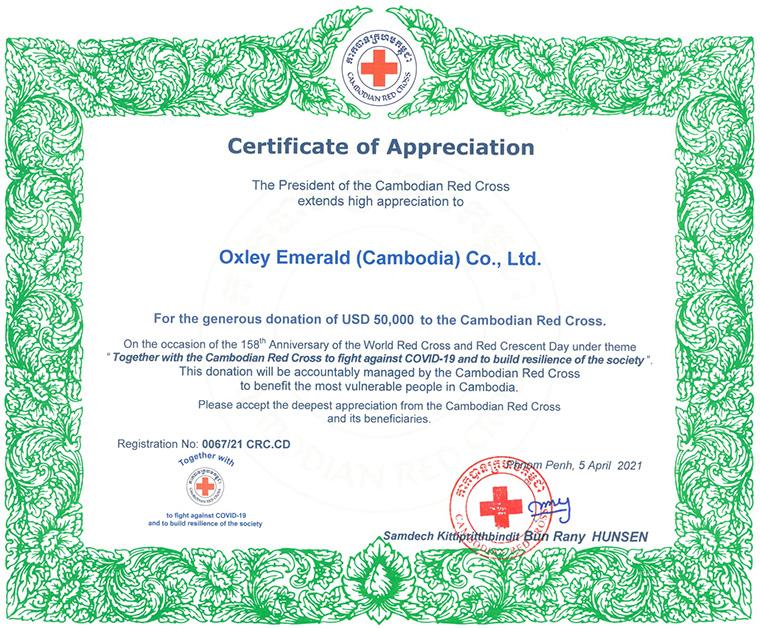 Oxley Emerald Cambodia Contributes Cambodian Red Cross